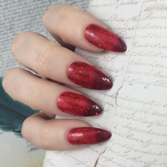 Burn nail polish Hamilton Musical Red thermal glitter fire