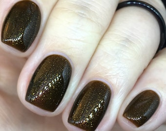 I Need S'more Space! Nail Polish brown, gold, copper, orange, shimmer, sparkle, smolder, chocolate