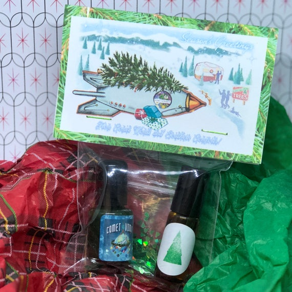 Winter Wonderland Comet Comforts Gift Set Nail Polish & Perfume Pine Tree Themed
