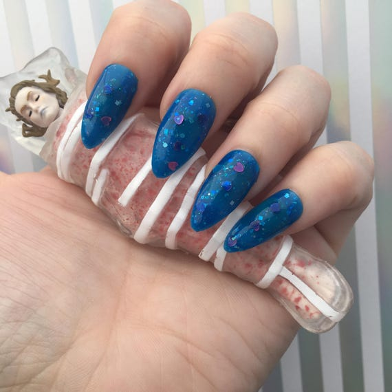 Laura's Lips -Laura Palmer- Twin Peaks Blue Icy Glitter Polish