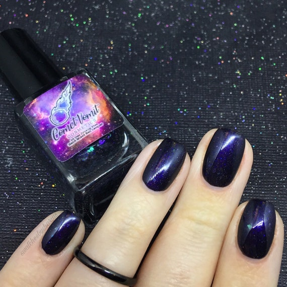 I Want a Hyper Galaxy for Christmas nail polish Holiday purple, flakie, flake, glitter, shimmer, dark, iridescent