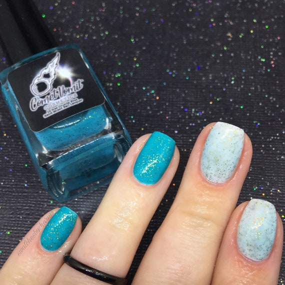 Most Wonderful Time of the Light Year nail polish Holiday turquoise, teal, clear, thermal, glitter, shimmer, blue, gold, green