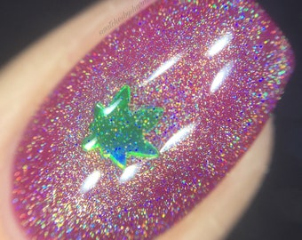 S.T.E.M.s and Seeds Nail Polish by Comet Vomit holographic, top coat, leaves, weed, pot, 420, green, silver, botany, plants