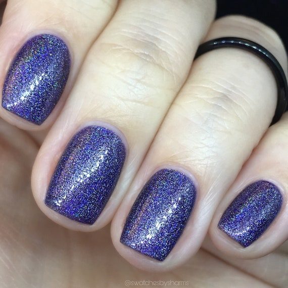 Wanderlust and Star Dust purple holographic nail polish fall, lavender, rainbow, stars