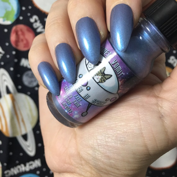 Gibson Goes to Neptune Catventures in Space lavender and blue vegan nail polish