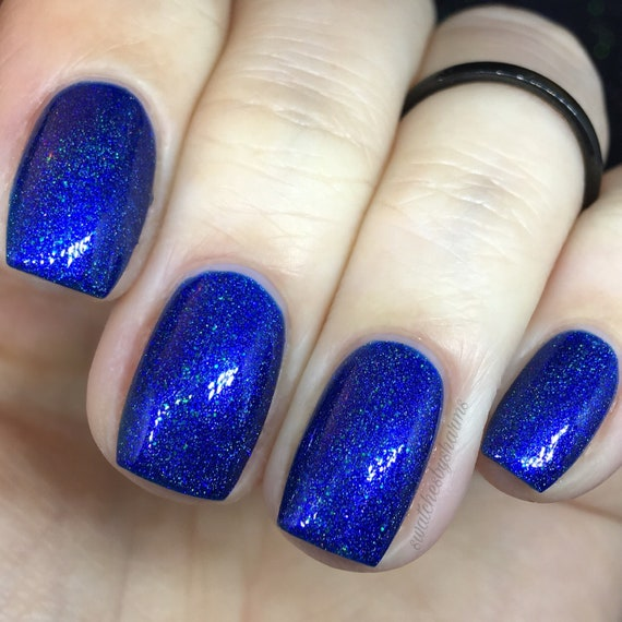 Blue Marble Nail Polish holo, holographic, blue, purple, sparkle, shimmer, royal