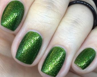 I Want to BeLEAF green shimmer fall nail polish gold, orange, leaves