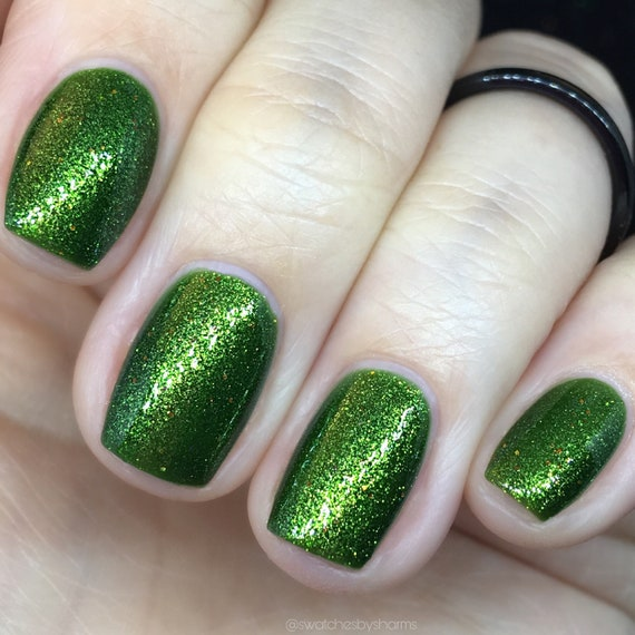 I Want to BeLEAF green shimmer fall nail polish gold, orange, leaves