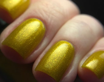 SaTurn Down For What? nail polish yellow gold shimmer