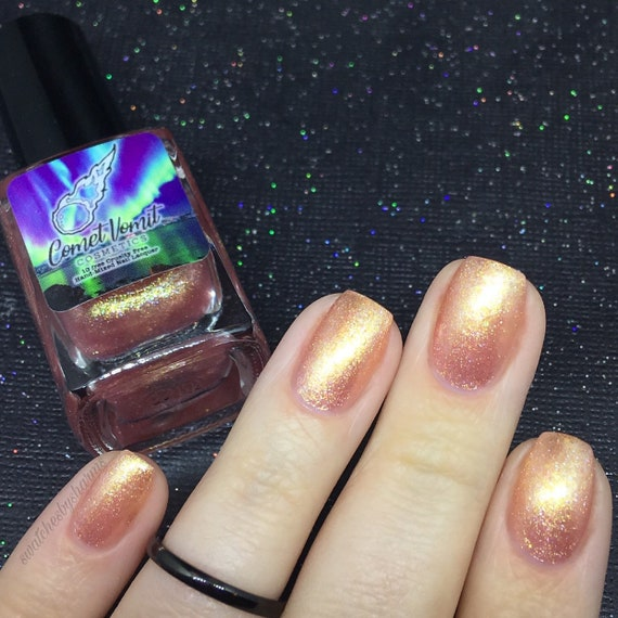 Comet & Cupid nail polish Holiday pink, peach, gold, champagne, shimmer, glitter, metallic, flake, flakie, layered, layers