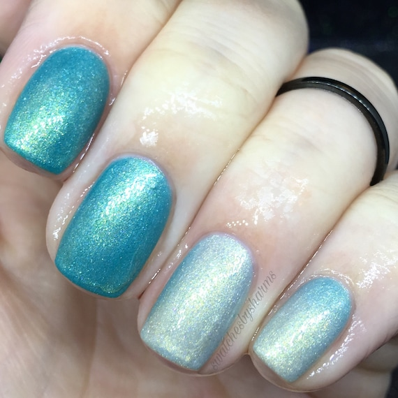 Star Stuff Thermal Turquoise to Metallic Silver gold nail polish vegan heat cold tempurature space stars cosmic color change