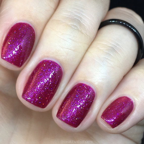 Celestial Body Pillow magenta fall nail polish purple, blue, orange, shimmer, glitter, sparkle