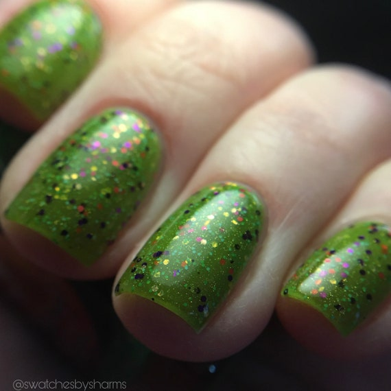 Kepler Field of Dreams nail polish green glitter rainbow neon