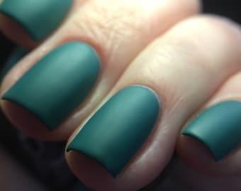 Lagoon Nebula nail polish matte blue aqua turquoise satin teal