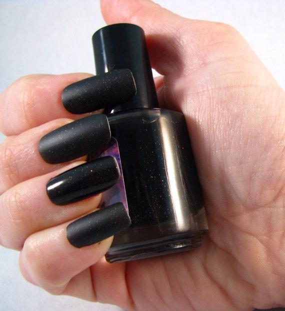 Terok Noir matte nail polish by Comet Vomit black shimmer suede flat