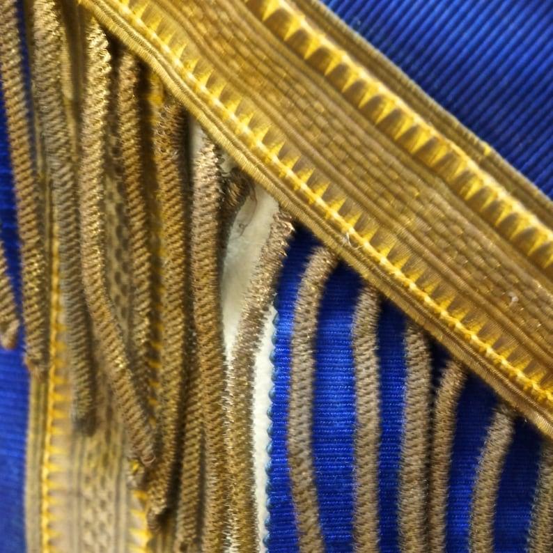 Antique Masonic Apron  Lambskin  Bullion  Dark Blue