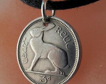 IRELAND rabbit Coin necklace - pendant charm - irish bunny Celtic Music Harp Eire Hare. CHOOSE YEAR birth year  anniversary year  No.00925