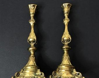 1800s Polish Sabbath Candlesticks . Judaica. Jewish. Poland. Warsaw Fraget cs