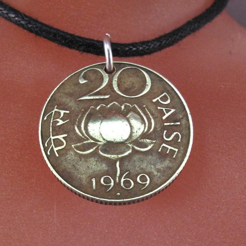 India Coin Necklace Lotus Flower Lion God Buddhism Hindu Sutra Rebirth Spiritual Awakening Waterlily Vintage No001265