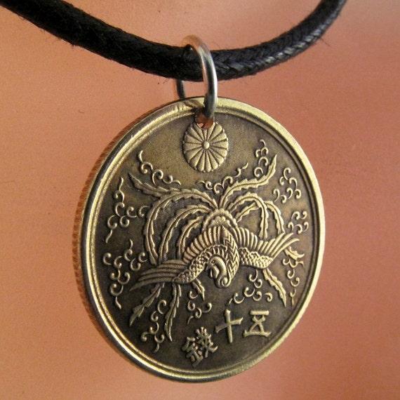 japan  coin  pendant charm phoenix coin Jewelry sen chrysanthemum vintage  JAPANESE  necklace Cecile Stewart Etsy  No.001125