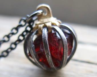 Birthstone Raw Garnet Necklace January Birthday Crystal Dark Red Capricorn Star Sign Gemstone Push Present Gift For Mom Mother Wife
