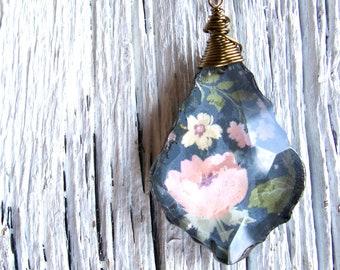 Chandelier Necklace, Pink Blue Flowers, Floral Pendant, Grandmother Gift Crystal Tear Drop Soldered Metal Victorian Vintage Inspired for Her