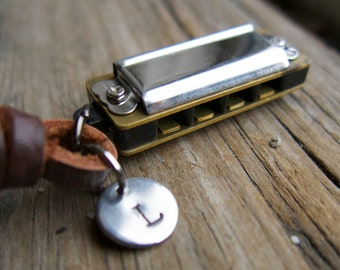 Miniature Harmonica Tag Necklace Personalized Leather Initial Mini Instrument Music Teacher Musician for Him, Father, Dad, Men's From Wife