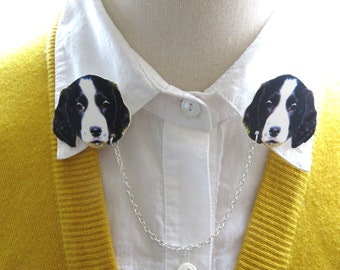 Cocker Spaniel Dog Black and White Animal Collar Brooch Double Sweater Pin