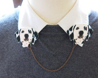 Dog Brooch Dalmatian Black and White Animal Collar Brooch Double Sweater Pin Fun and Quirky Gift for Her Unique Find Kitsch Ideas Vet