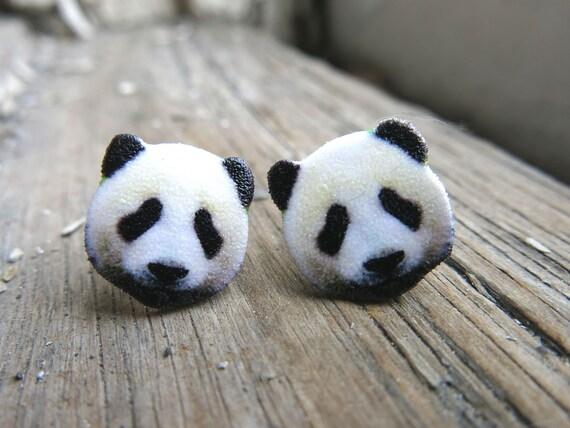 Quirky Giant Panda Bear Animal Zoo Crystal Zoo Jewellery Stud Earrings