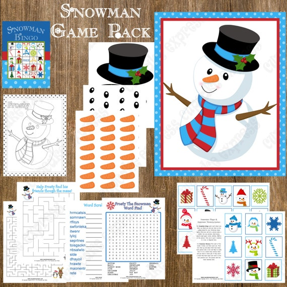 Christmas Party Game For Kids: Snowman Game Pack, Christmas Party, Christmas Games