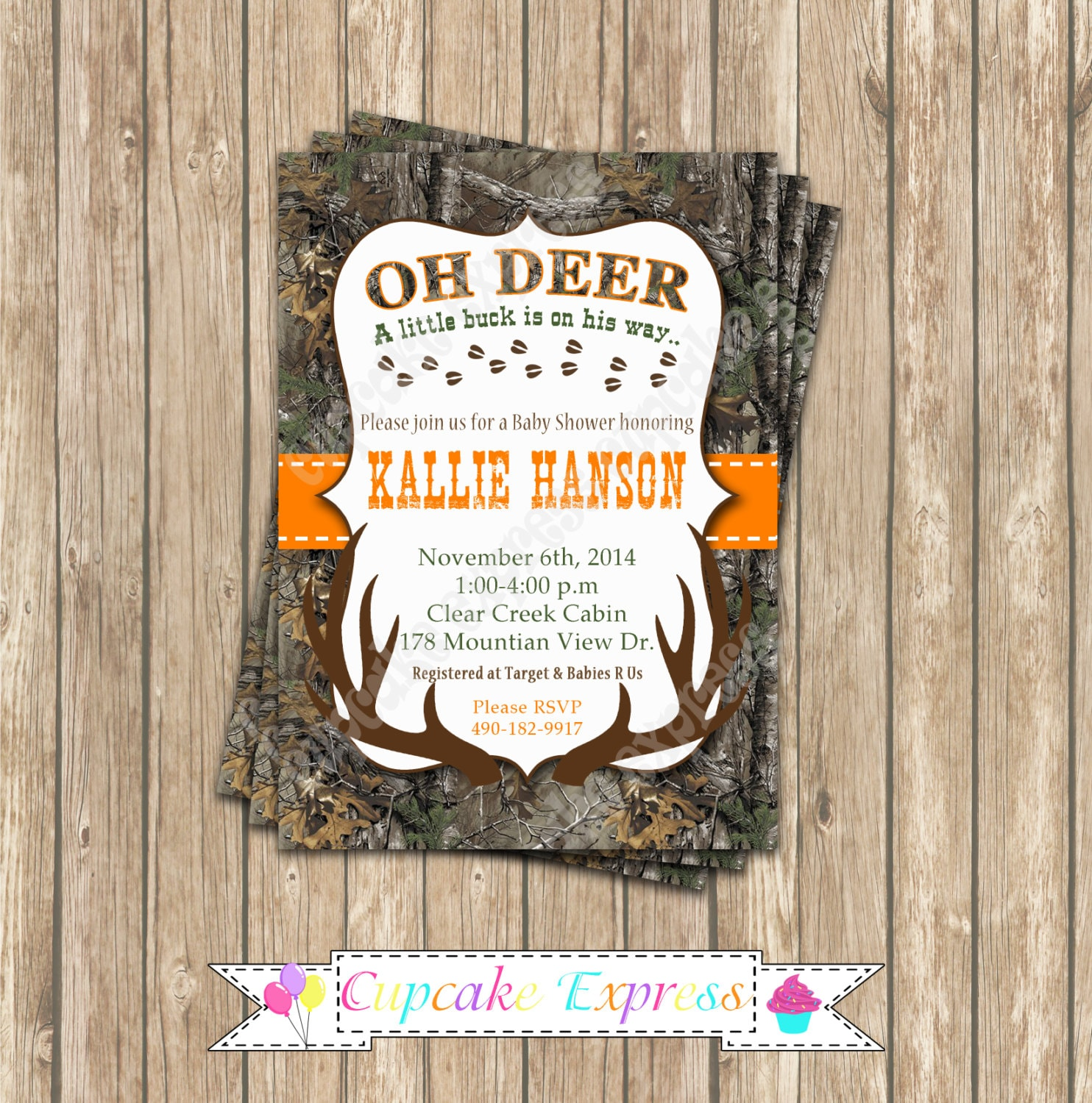 Camo Baby Shower Boy Deer Hunting Birthday Party PRINTABLE
