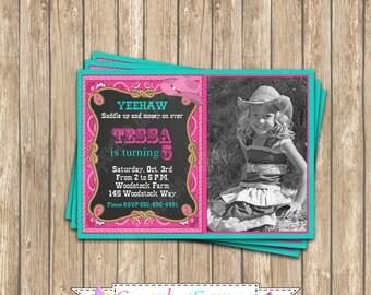 Cowgirl Invitation, Cowgirl birthday invitation, cowgirl decorations, PRINTABLE, Corgirl Birthday Party,  Photo chalkboard Invitation, DIY
