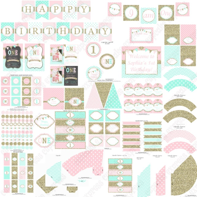 Girls First Birthday Pink Mint Gold 1st PRINTABLE Deluxe Package Decorations