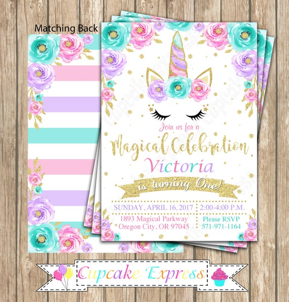 Unicorn Invitation Party Magical