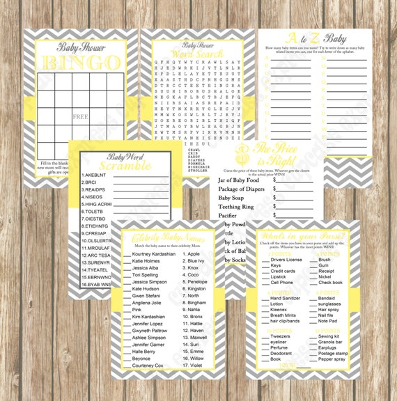 Baby Shower Games Pack Yellow Grey Chevron Mommy To Be Printables