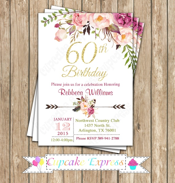 60th Birthday Invitation Decorations For Woman Floral Black Goldrustic PRINTABLE
