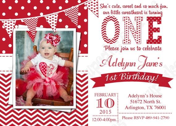 Valentines Invitation  1 One First Birthday girl red white hearts PRINTABLE  chevron polka dot 1st birthday 474a7b174