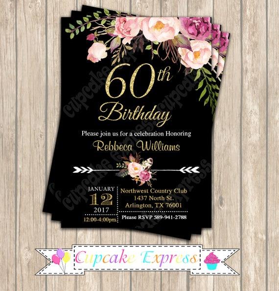 60th Birthday Invitation 60th Birthday Decorations 60th Birthday