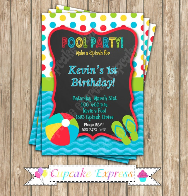 Pool Party Boys Birthday PRINTABLE Chalkboard Invitation 3 5x7 Summer Splash 1st First DIY
