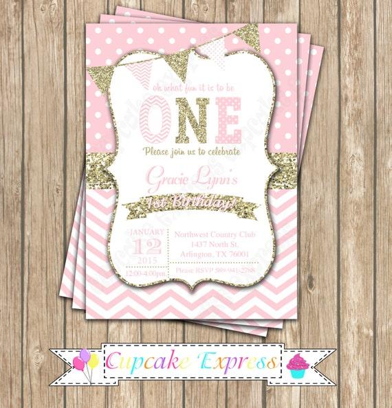 girls first birthday invitation pink gold invitation first