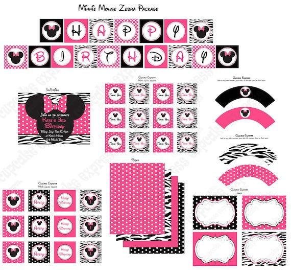Items Similar To DIY Minnie Mouse Pink Zebra Birthday