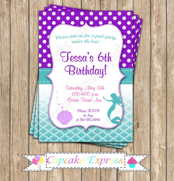 ariel little mermaid birthday party invitation 3 printable