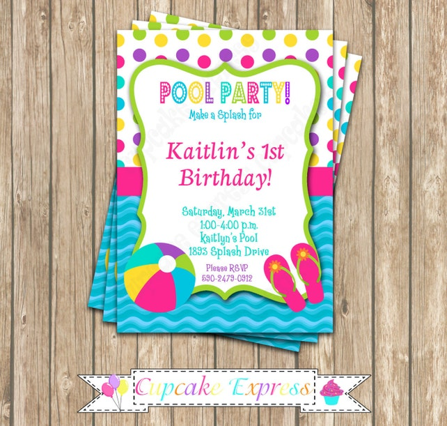 Pool Party Invitation, Girls pool party invitation, Pool