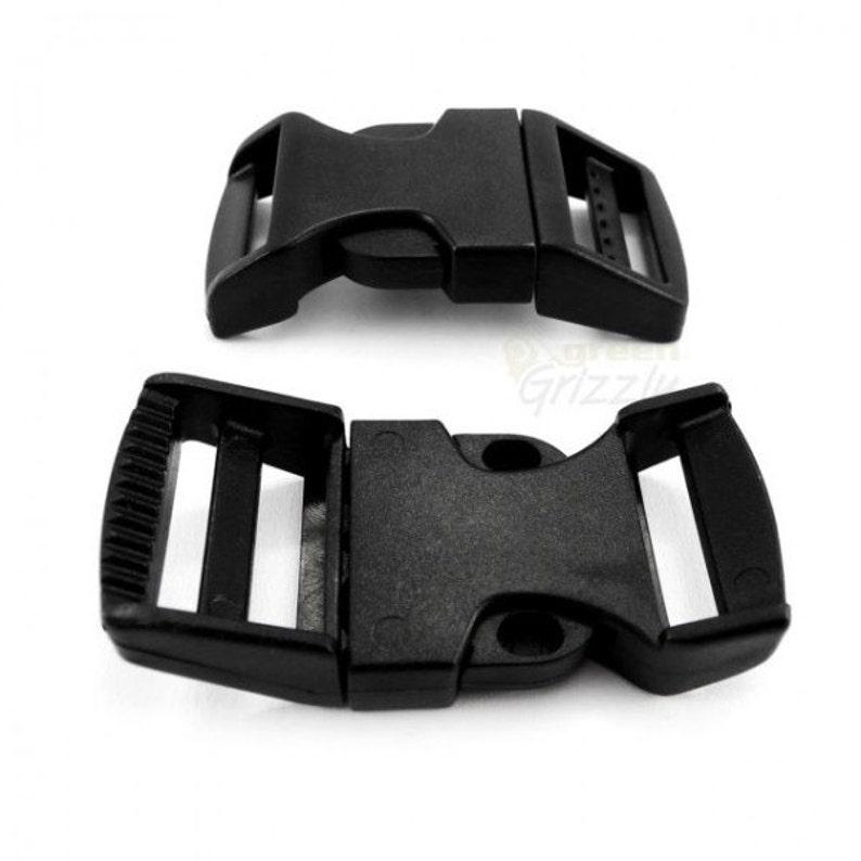 Black Delrin Side Release Buckles for Webbing Belts//Straps
