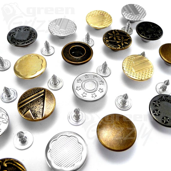 17mm Metal Jeans Buttons Hammer on Denim Tack Alloy Studs Oxyd Antique Brass Pin