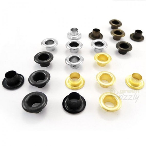 10mm or 12mm steel eyelets with washers in silver black antique brass gold