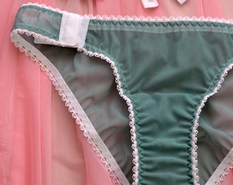 Women Sleepwear   Intimates Panties Handmade Lingerie The Mint Mesh Hooks  Women Panties Made to Order c1aba6802
