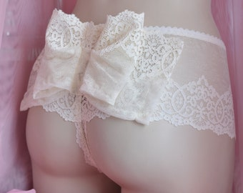 78e30bf23 Clothing Women s Clothing Lingerie Panties The Boudoir Bridal Bow Panties  in Ivory Lace Made to Order