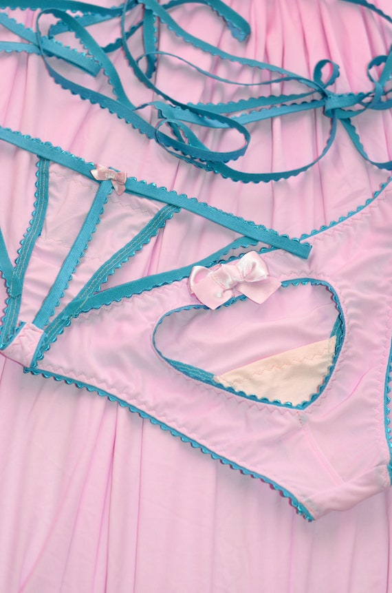 Women Sleepwear &Amp;Amp; Intimates Panties Handmade Hearts And Bows Lingerie The Heart Oily Panties And T String Made To Order by Etsy